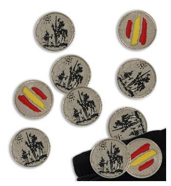 Juego 20 de amarracos mus del Quijote de la Mancha esmaltado en negro.