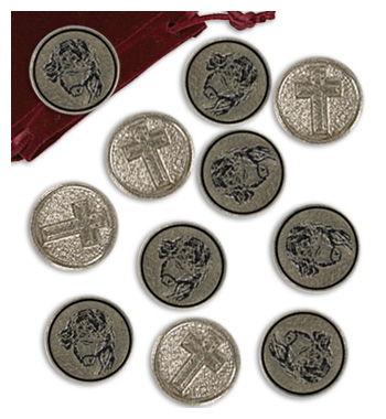 Un regalo exclusivo para devotos amantes del mus. Conjunto de 20 Monedas amarracos religiosos esmaltados.