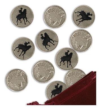 Juego de 20 amarracos con motivos taurinos. Toro y caballo con jinete. En níquel con esmaltes.